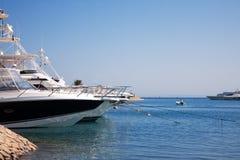 Luxury yachts anchored Stock Photo