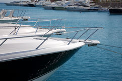 Luxury yachts anchored in a small gulf Royalty Free Stock Images