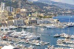 Luxury yachts and apartments in harbor of Monte Carlo, Monaco Stock Photography