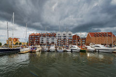 Luxury yachts in the bay area of Gdansk,Poland, Baltic coast Royalty Free Stock Photos