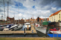 Luxury yachts in the bay area of Gdansk,Poland, Baltic coast Stock Photo