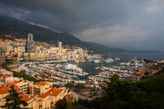 Luxury yachts in the bay of Monaco on the Cote D`Azur Royalty Free Stock Photo