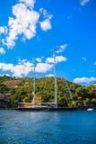 Luxury yachts in the bay of Portofino stock image