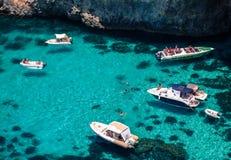 Luxury yachts at blue lagoon. Comino, Malta Stock Photos