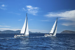 Luxury yachts. Boat in sailing regatta. Stock Photos