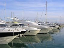 Luxury yachts or boats. Row of luxury yachts and boats in a marina Stock Photography