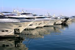 Luxury Yachts and boats. In a Marina Stock Image