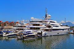 Luxury yachts and boats. Docked at a marine club near the gold coast, hong kong stock photo