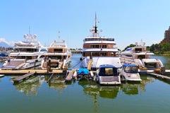 Luxury yachts and boats. Docked at a marine club near the gold coast, hong kong stock image