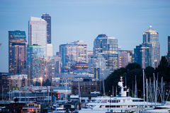 Luxury Yachts Boats Lake Union Seattle Downtown City Skyline Stock Photo