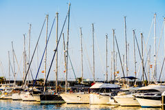 Luxury Yachts And Boats In Valencia Port At Mediterranean Sea Royalty Free Stock Photos