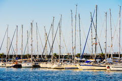 Luxury Yachts And Boats In Valencia Port At Mediterranean Sea Royalty Free Stock Images