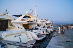 Luxury yachts in Calvi harbour Stock Images