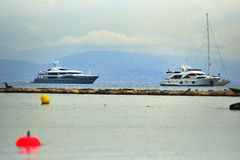 Luxury yachts on the coast of Antibes. France Royalty Free Stock Images