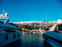 Luxury yachts on the coast in winter season. Stock Images