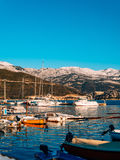 Luxury yachts on the coast in winter season. Stock Image