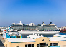 Luxury yachts, cruise ships and other boats docked at port of Rhodes Royalty Free Stock Photos