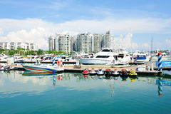 Luxury yachts on display at Singapore Yacht Show Stock Image