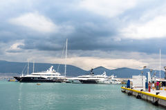 Luxury yachts at the dock. Marina Zeas, Piraeus,Greece Stock Image
