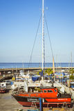 Luxury yachts on the dock at the yacht club Puerto Colon, Costa Royalty Free Stock Image