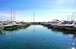 Luxury yachts dropped anchor in marine in port on the Adriatic sea in Croatia royalty free stock photo