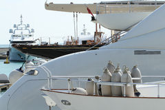 Luxury yachts in dry dock. In the south of France Royalty Free Stock Photography