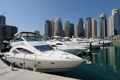 Luxury Yachts at Dubai Marina Stock Images