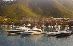 Luxury Yachts in Early Morning Harbor Stock Images