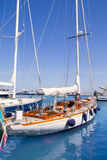Luxury yachts in Formentera marina Royalty Free Stock Images