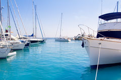 Luxury yachts in Formentera marina Royalty Free Stock Photography