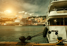 Luxury yachts in Genova port Royalty Free Stock Photo