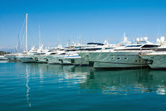 Luxury yachts in the harbor Antibes, France Stock Photography