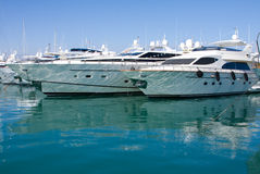 Luxury yachts in harbor Antibes, France stock photography