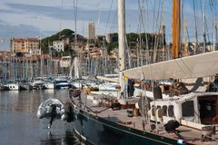 Luxury yachts in harbor of cannes, france Stock Photo