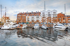 Luxury yachts in harbour of Gdansk, Poland Stock Photography