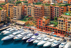 Luxury yachts in harbour of Monaco, Cote d'Azur. Luxury yachts in the residential area of of Monaco, France Stock Photography