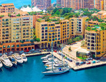 Luxury yachts in harbour of Monaco, Cote d'Azur. Luxury yachts in the residential area of of Monaco, France Stock Images