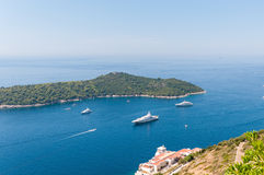 Luxury yachts at the Lokrum Island on Adriatic Sea Stock Image