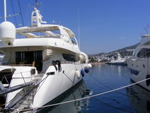 Luxury Yachts in Marina. Private luxury yachts line the marina in Turgutreis, near Bodrum in Southwest Turkey Stock Image