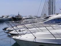 Luxury Yachts in Marina. Private luxury yachts line the marina in Turgutreis, near Bodrum in Southwest Turkey Stock Images