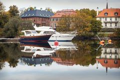 Luxury yachts at marina. Luxury yachts docked at a marina on a river in the center of Stockholm, Sweden Stock Images