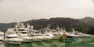 Luxury yachts in marina of Eden Island. Stock Photography