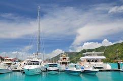 Luxury yachts in marina of Eden Island. Stock Image