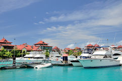 Luxury yachts in marina of Eden Island. Royalty Free Stock Photo