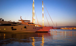Luxury Yachts in Marina. Night shot of luxury yachts in a marina in Greece Royalty Free Stock Photo