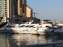 Luxury Yachts at Marina Walk Dubai stock photography