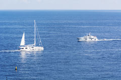 Luxury yachts in the the Mediterranean sea near Monaco Royalty Free Stock Photo