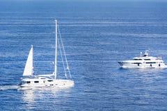 Luxury yachts in the the Mediterranean sea near Monaco Royalty Free Stock Photo