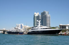 Luxury Yachts in Miami Royalty Free Stock Photos