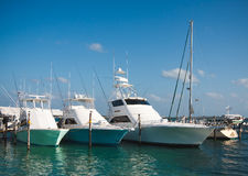 Luxury yachts moored in the marina of the Caribbean sea Royalty Free Stock Images